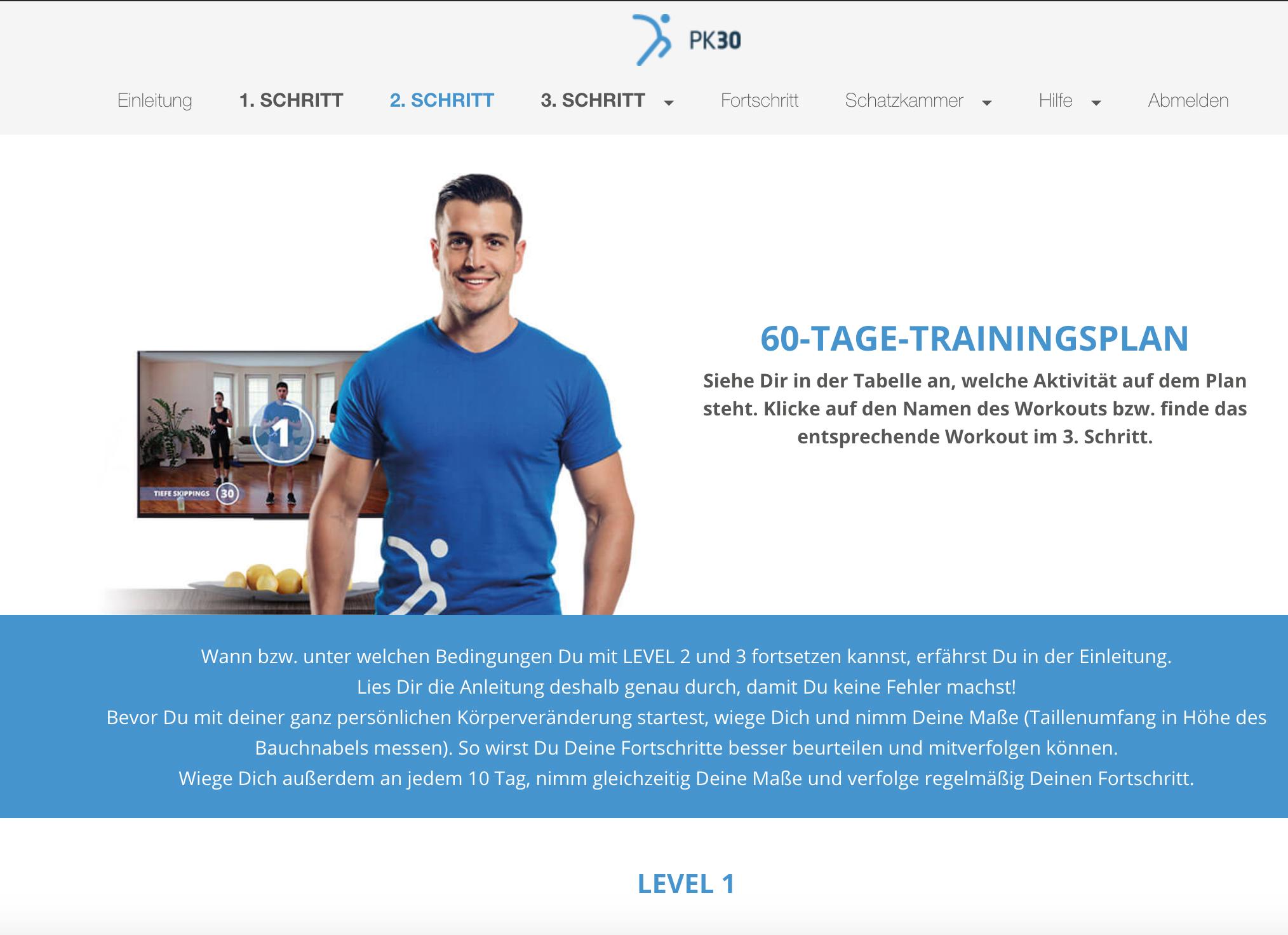 60 Tage Trainingsplan PK30 Workout Hit